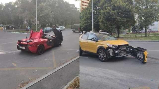 Элитная авария в Киеве: столкнулись McLaren и Kia Stonic