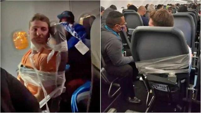 В США неадекватного пассажира самолёта примотали скотчем к сиденью